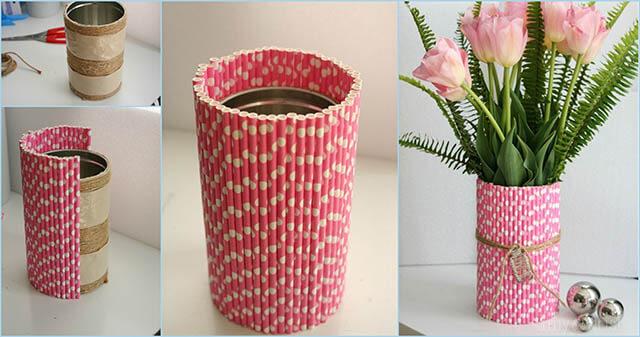 cách làm lọ hoa bằng ống hút