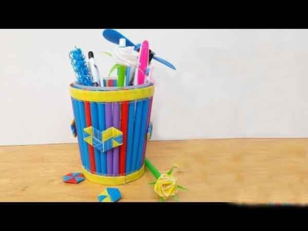 làm hộp bút bằng ống hút giấy